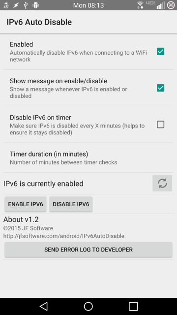 IPv6 Auto Disable