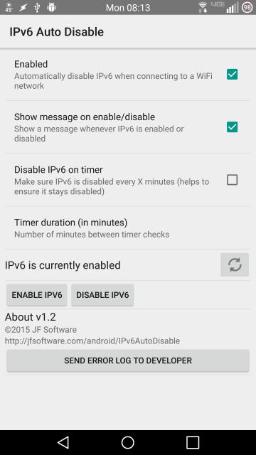 IPv6 Auto Disable